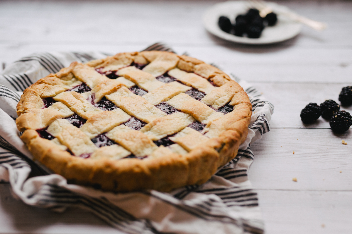 Beautiful blackberry pie on the table