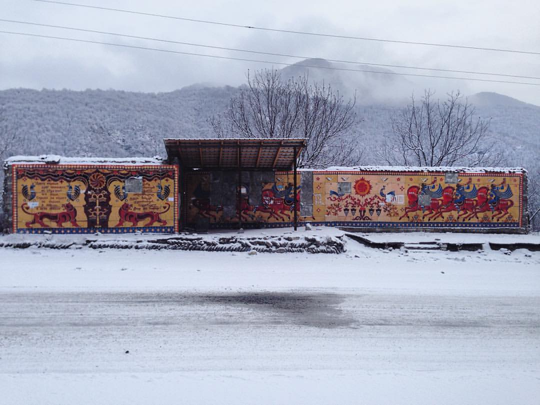 Soviet bus stop in Georgia