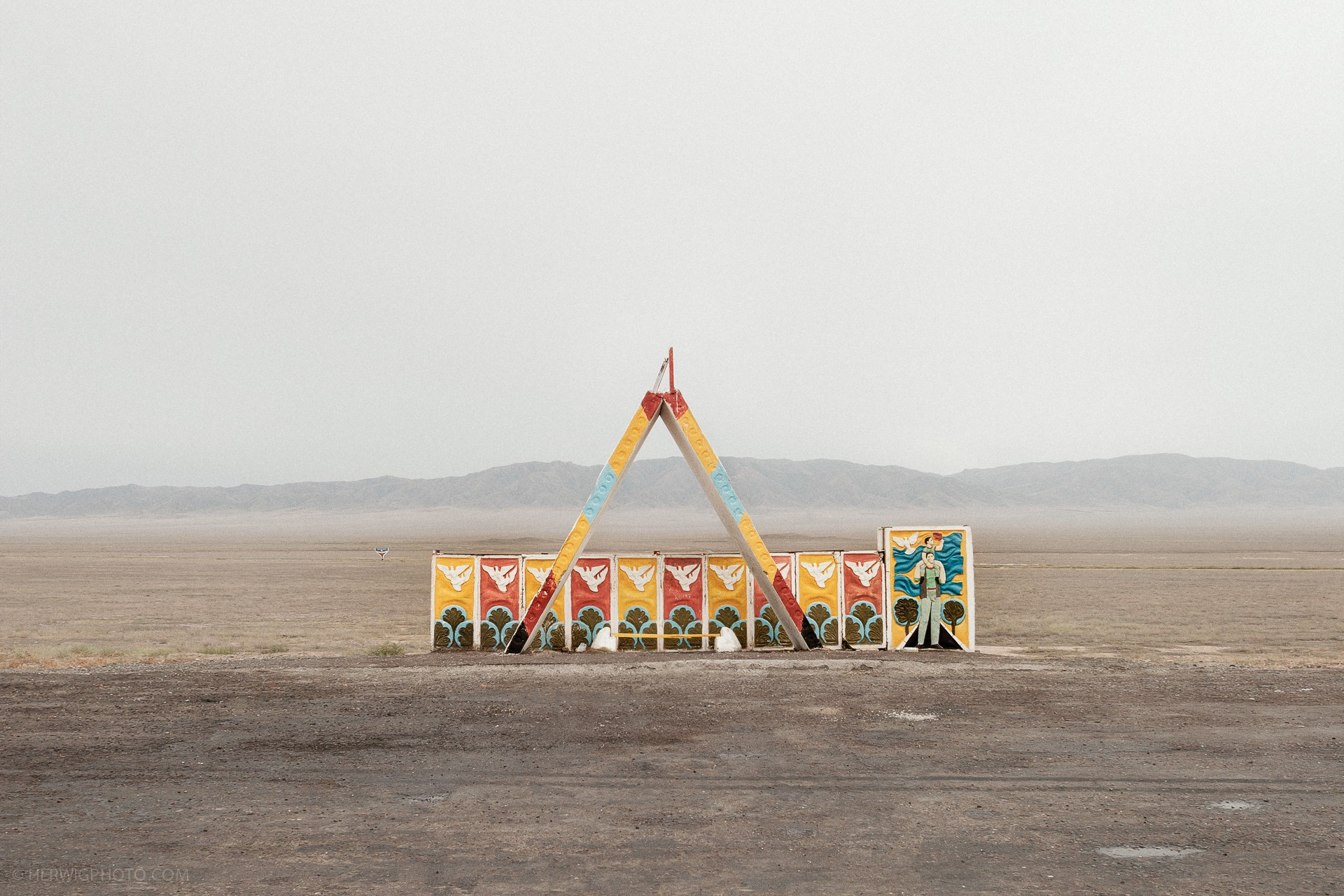 Soviet bus stop photo in Kazakhstan