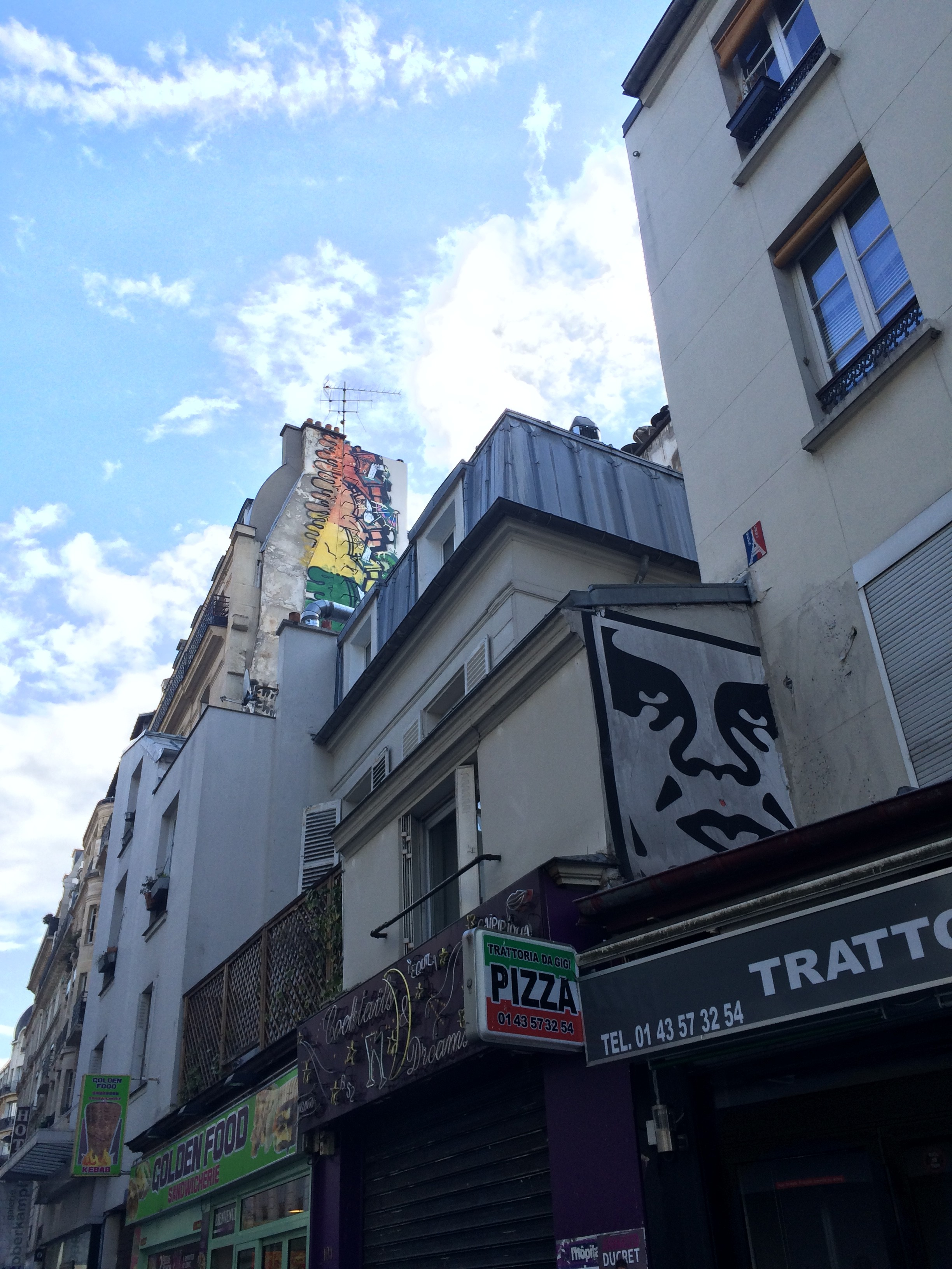 Paris Street Art by Shepard Fairey OBEY and Chiotte in Oberkampf