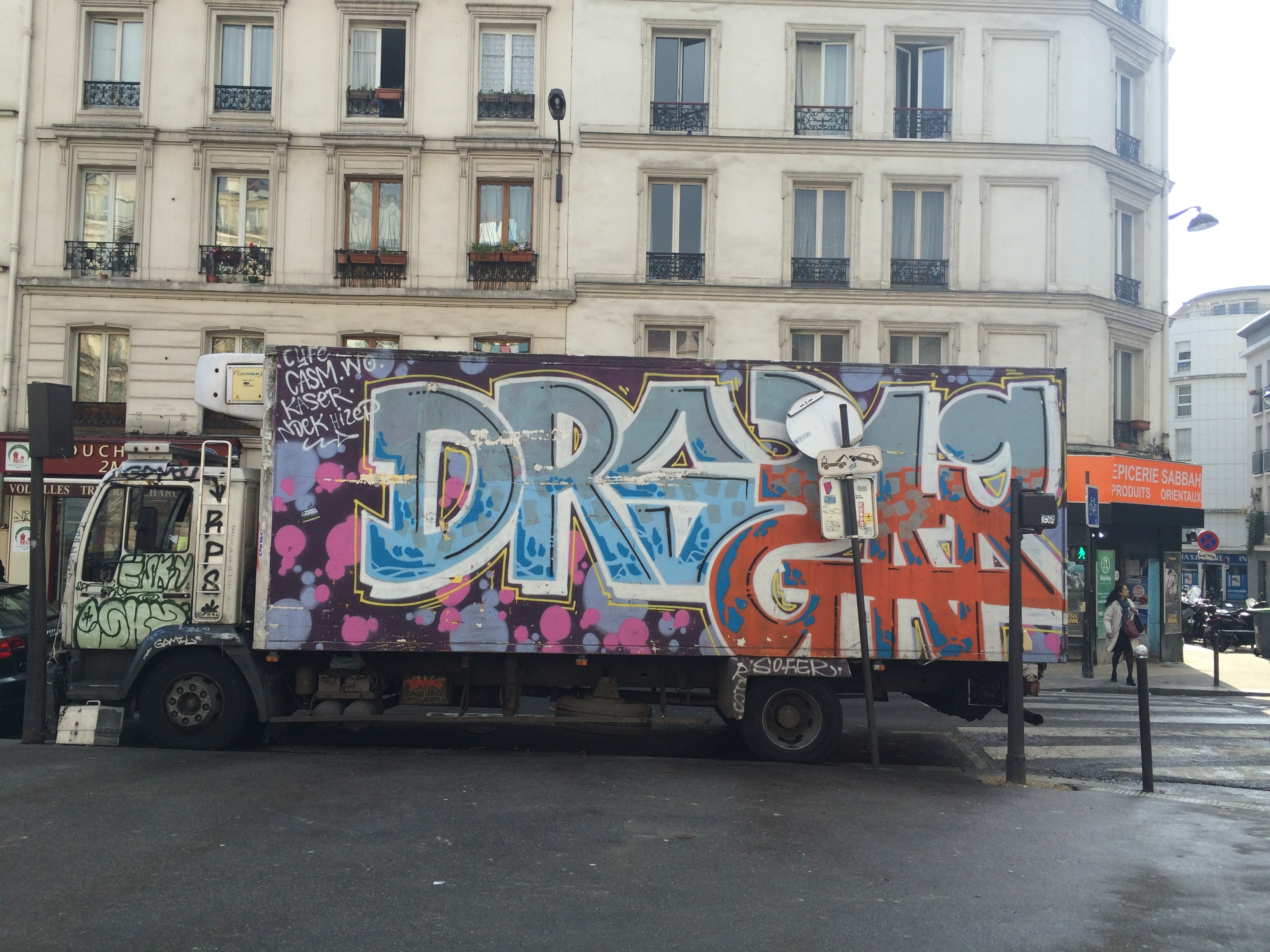 Truck Graffiti in Belleville, Paris