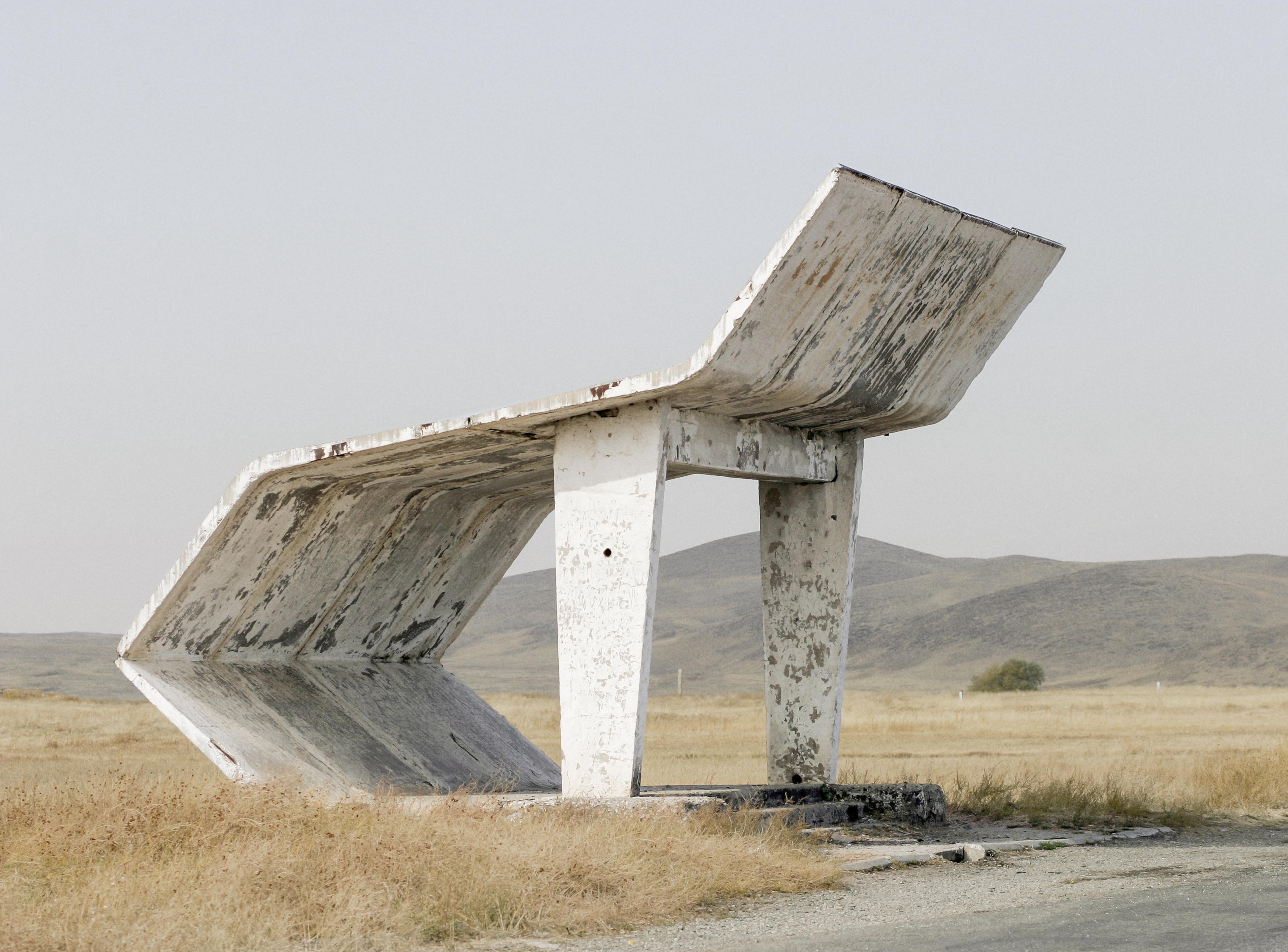 Soviet bus stop in Kazakhstan