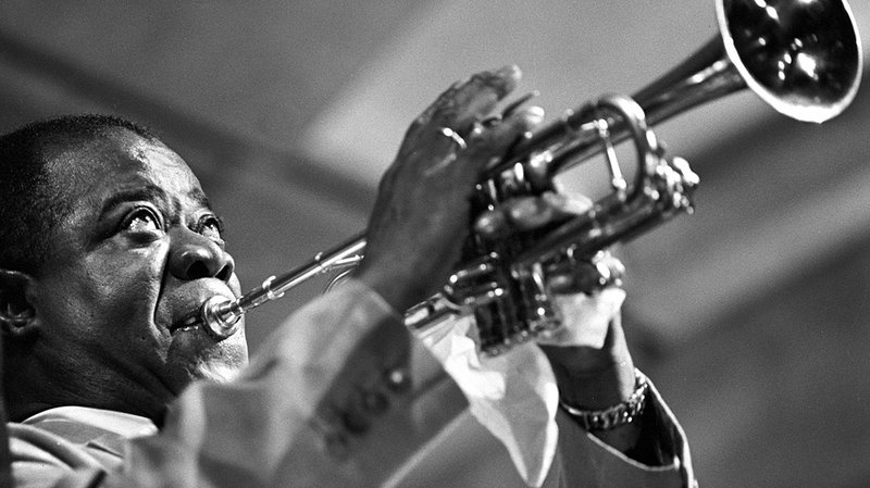 Louis Armstrong at the Newport Jazz Festival 1955 by Herman Leonard