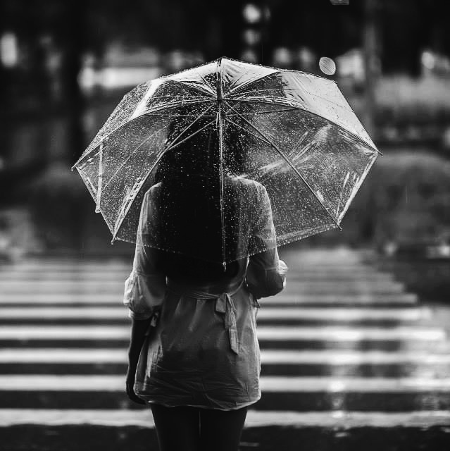 black and white rain photography