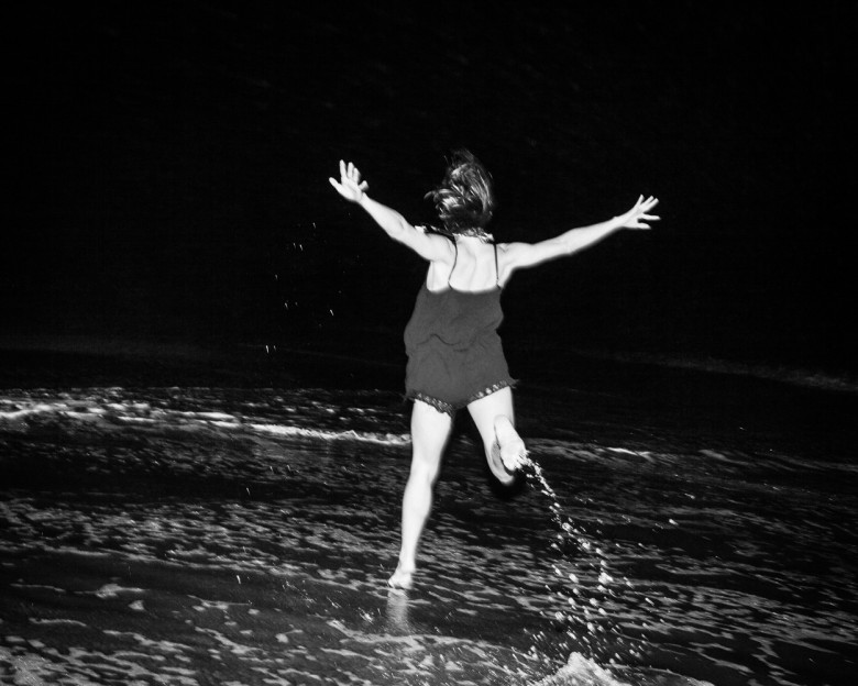 Girl on the Beach at Night ©2016 Feather Weight