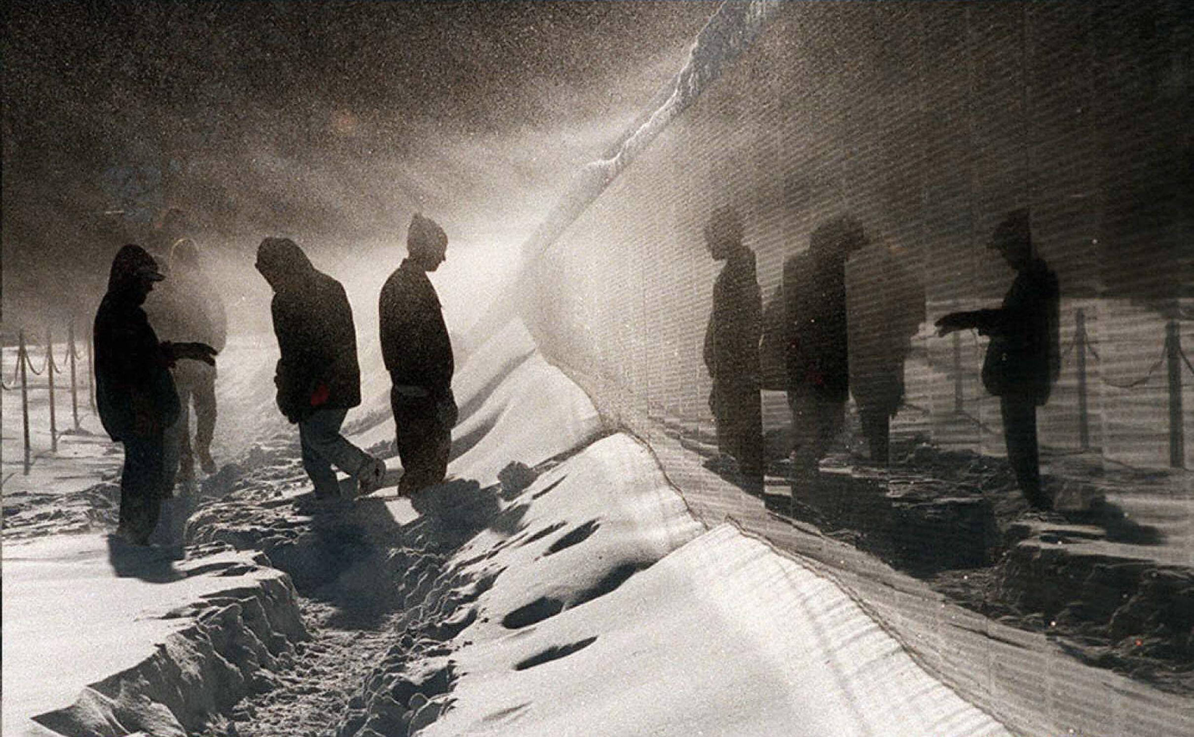 Vietnam War Memorial Snow Blizzard - Photo by Joyce Naltchayan Boghosian