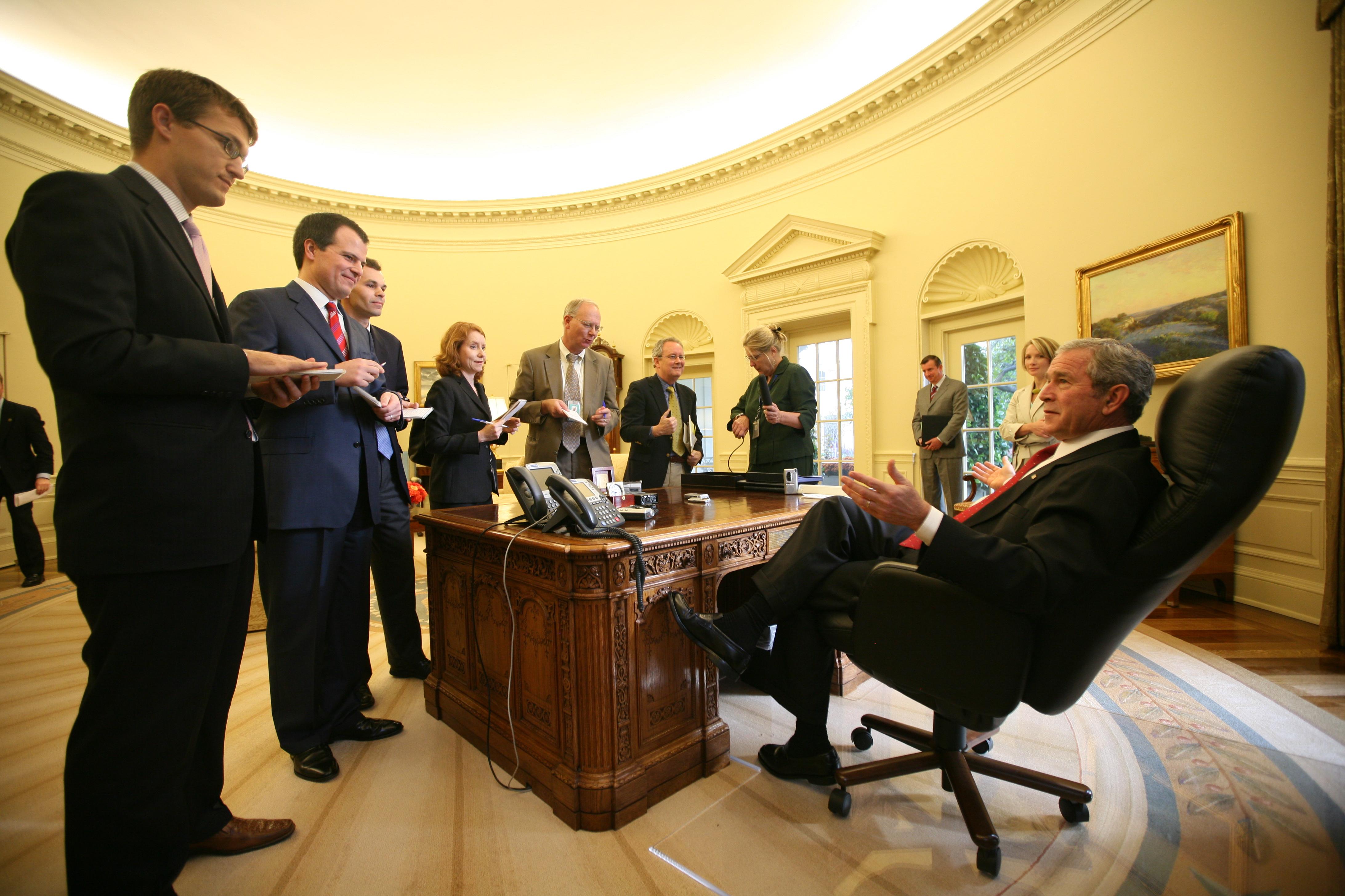President George W. Bush in the Oval Office - Photo by Joyce Naltchayan (Boghosian)