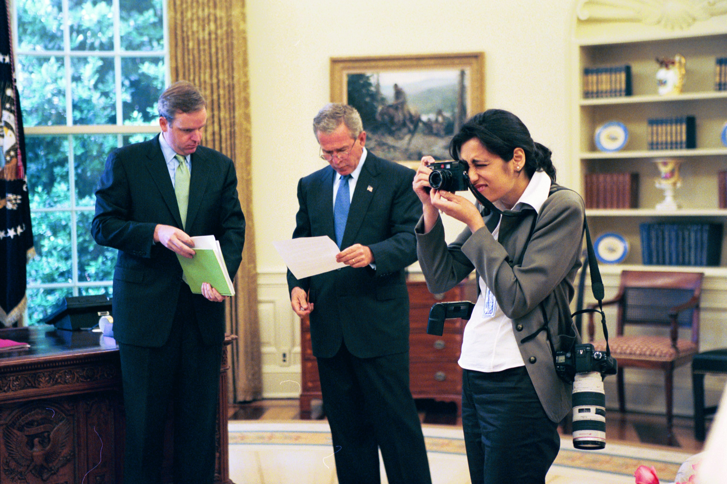 George Bush pre-brief and meeting with the President of Afghanistan in the Oval Office.