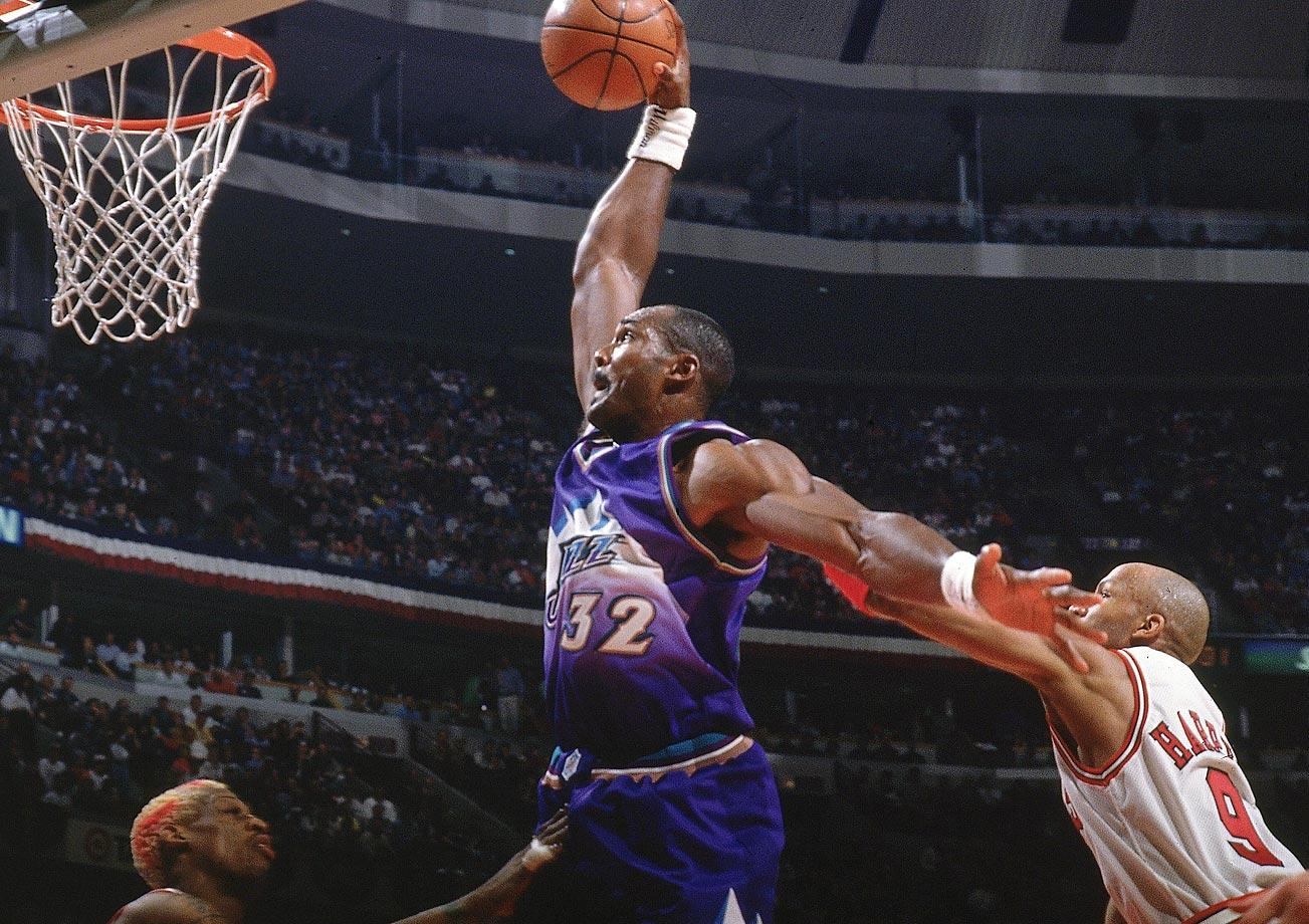 Karl Malone Dunk over Rodman 1997 -  15 Legendary Shots in NBA Finals History
