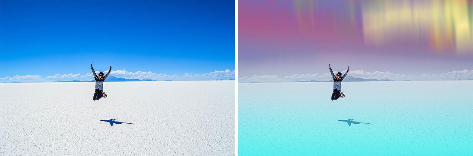 Utah Salt Flats Color Gradient Effect and Northern Lights Clipart PicsArt Photo Editor