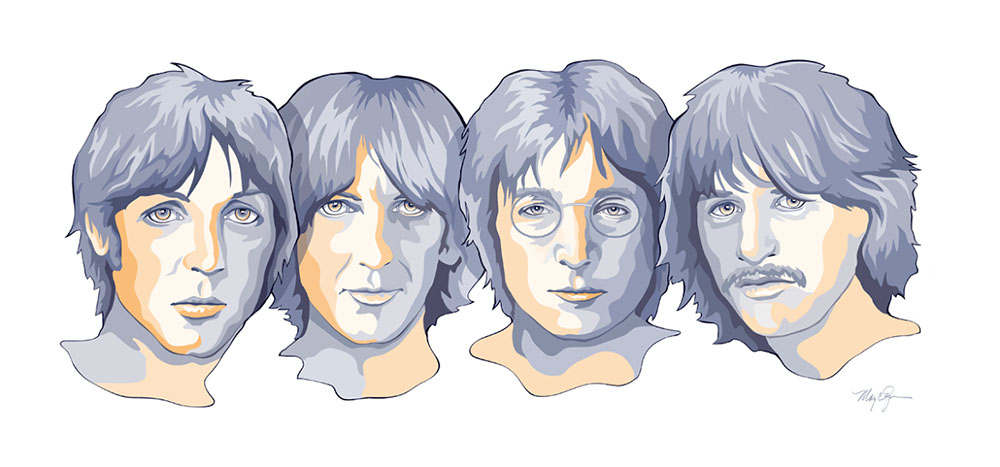 Beatles in Blue illustration by Mary Zins