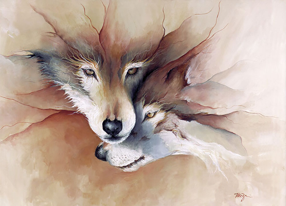 Soulmate, wolves painting by Mary Zins