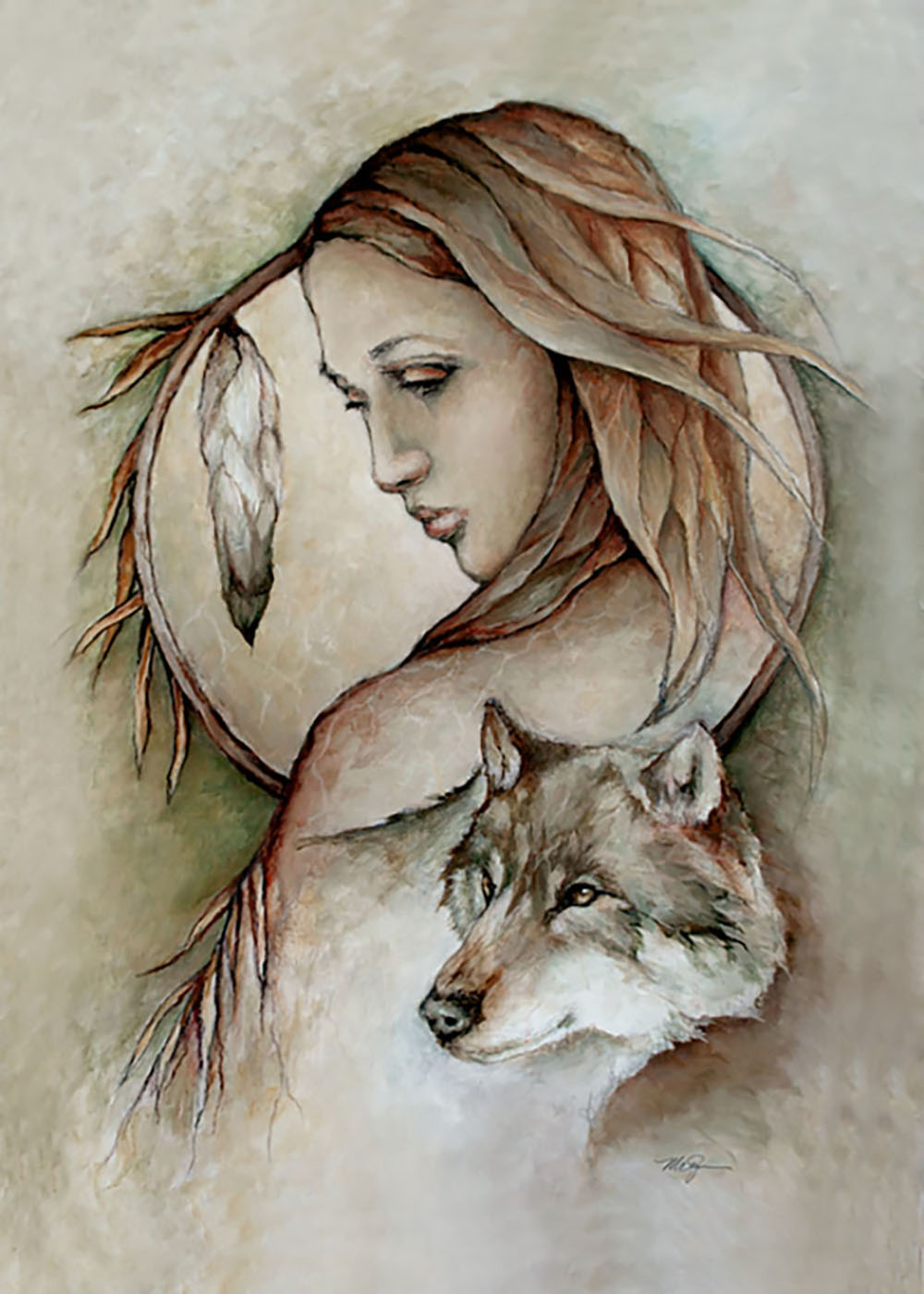 Spirit of the Wolf painting by Mary Zins