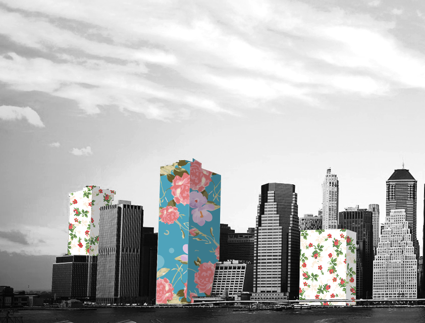 black and white photo of towers edited with picsart floral wrap
