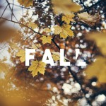 Fall text on the falling leaves photo