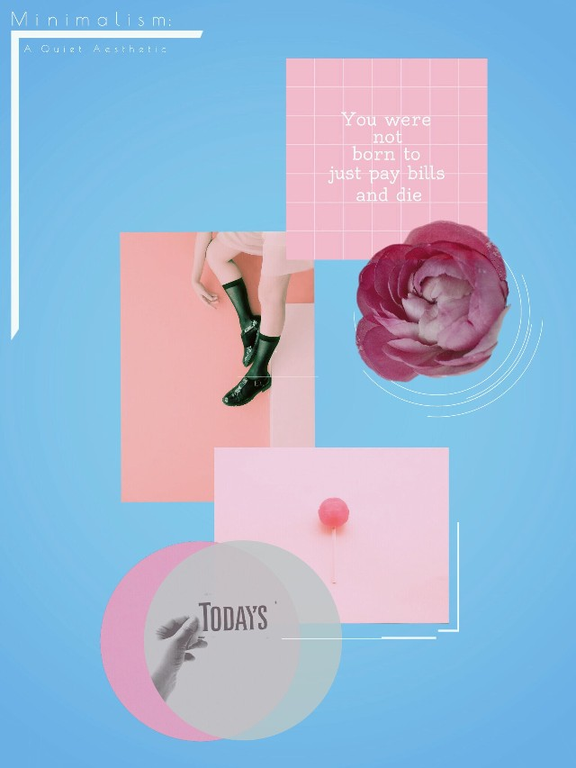 Fashion collage with lollipop, flower, woman legs and quote