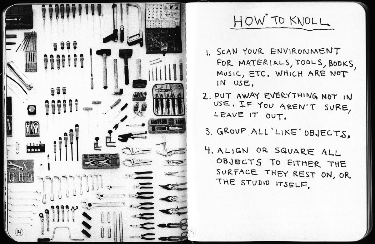"Knolling Instructions - Tom Sachs' 2009 zine ""Ten Bullets"""