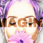 Girl with purple hair and flower on her mouth and imagine text on her face