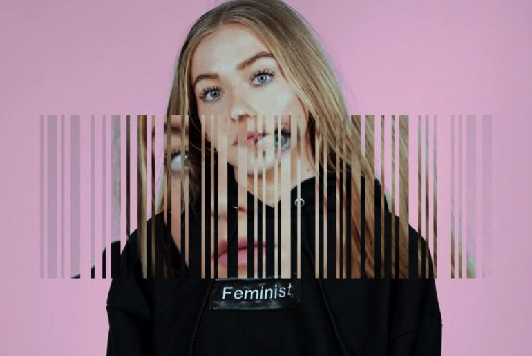 Barcode photo collage edit on the photo of a girl