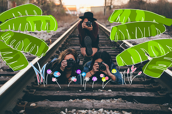 cute nature stickers on a photo of friends
