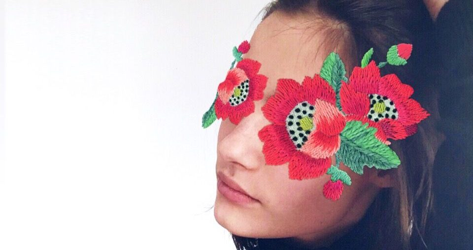 Free Embroidery Flower Stickers on the selfie of a girl