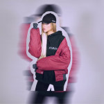 Blurred cutout edit of a blonde girl with black cap and pink top