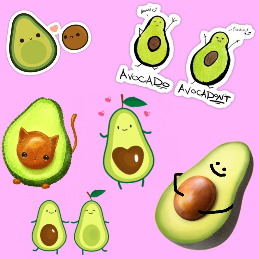 cute avocado stickers on picsart