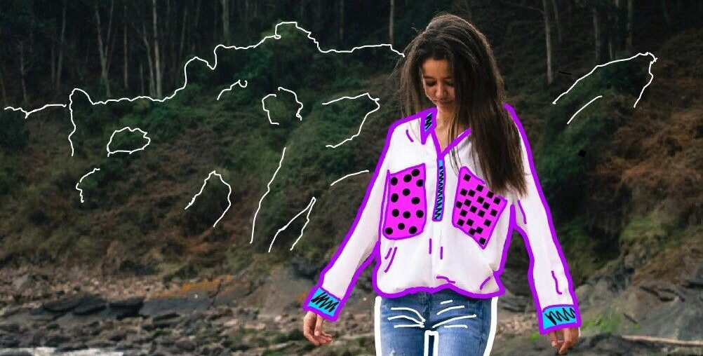 creative outline edit on a photo of a brunette girl