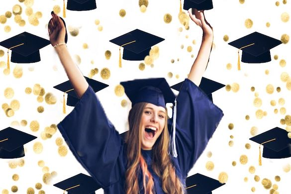 Girl celebrating her graduation using graduation stickers