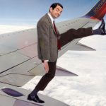 Mr. Bean sticker edit on the airplane wing