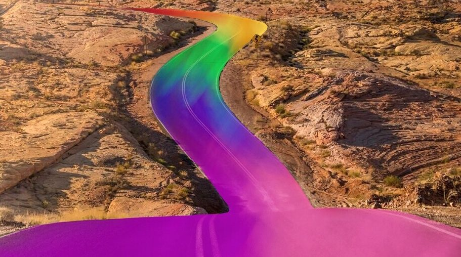 Rainbow path edit on the photo of a road