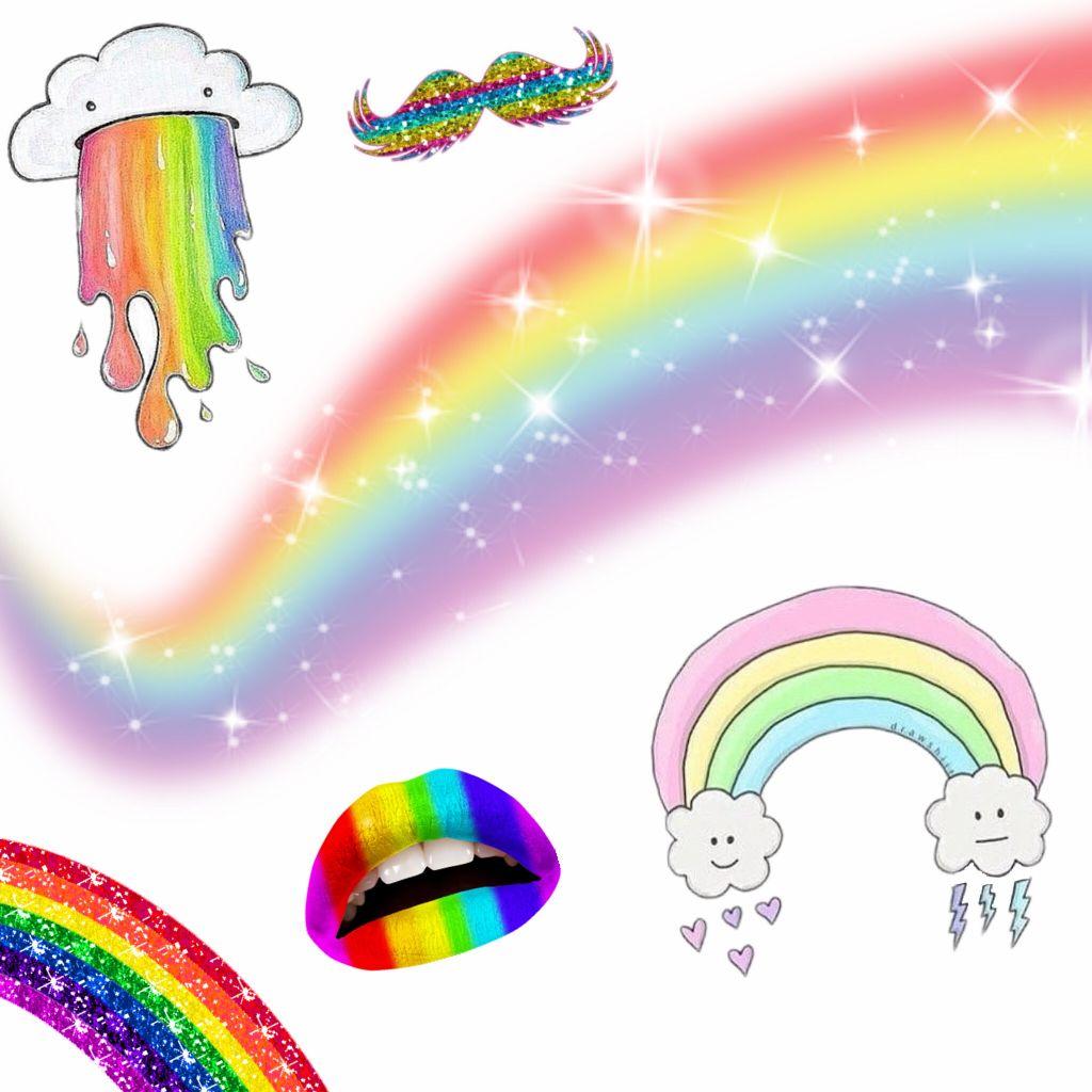 free rainbow stickers on picsart