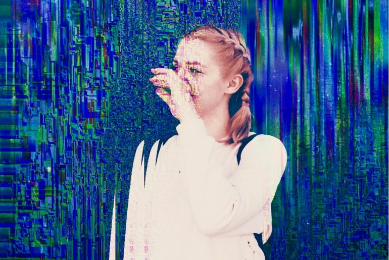 Glitch Selfie of a girl with braids