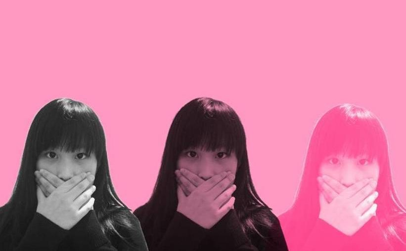 a creative edit of an asian girl closing her mouth with her hands