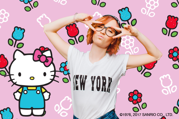 hello kitty stickers and background on a photo of a girl