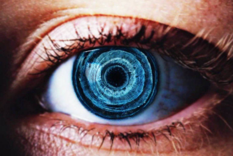 Double Exposure feature on the photo of a blue eye