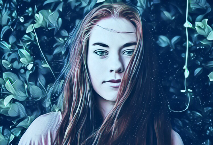 a photo of a girl edited with white ice magic effect