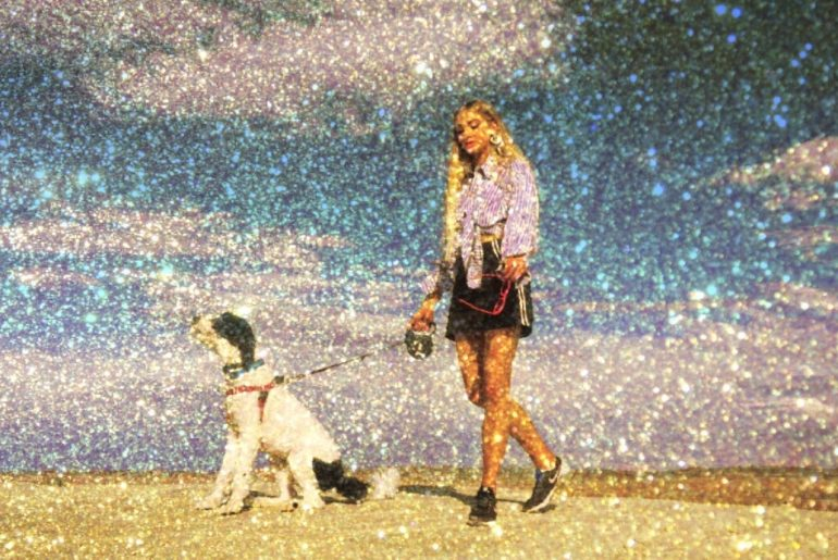 Amazing Glitter Edit on the photo of a girl with dog