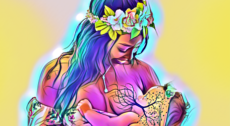 picture of a baby and mother breastfeeding edited with magic effect and a tree of life