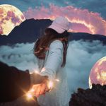 a girl looking into Illuminated moon stickers