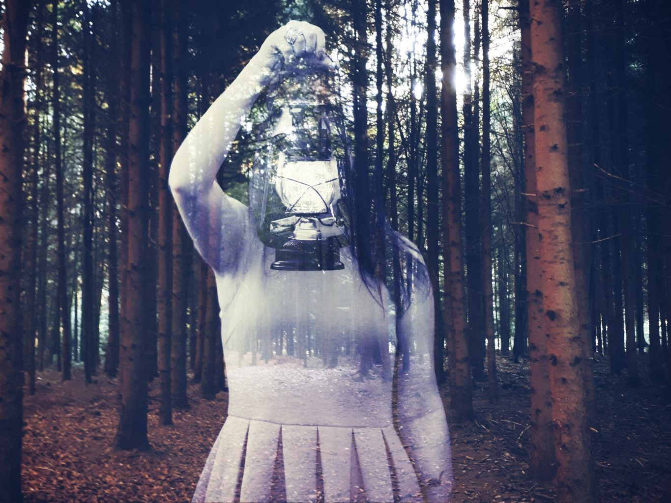 ghost edit of a girl standing in the forest made with picsart