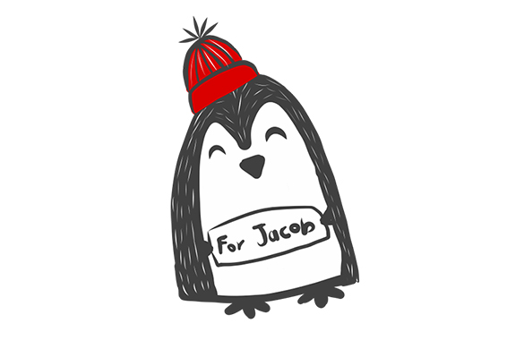 "homemade card of a penguin standing with a notice ""for jacob"""