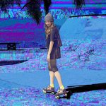 vaporwave effect on the photo of a roller skating girl
