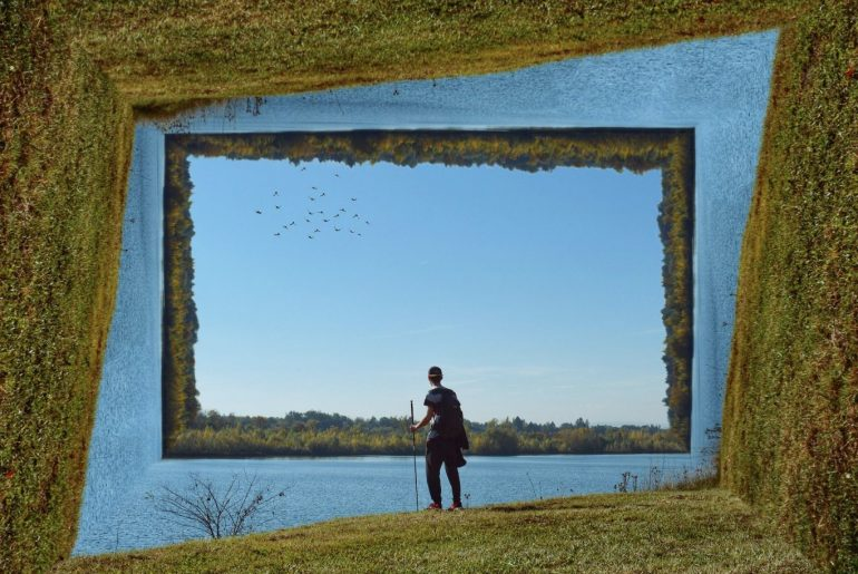 virtual photo frame edit with a man standing in the nature