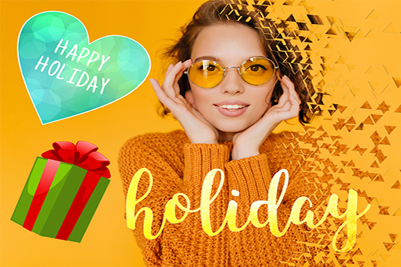 girl in orange with dispersion effect and happy holiday stickers