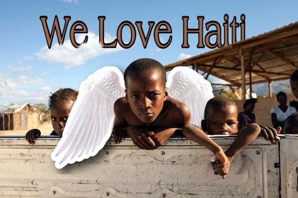 We Love Haiti on the photo of children with angel sticker
