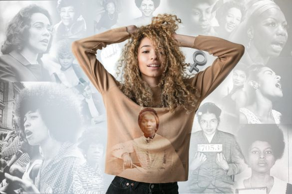 Girl with curly hair with collage background