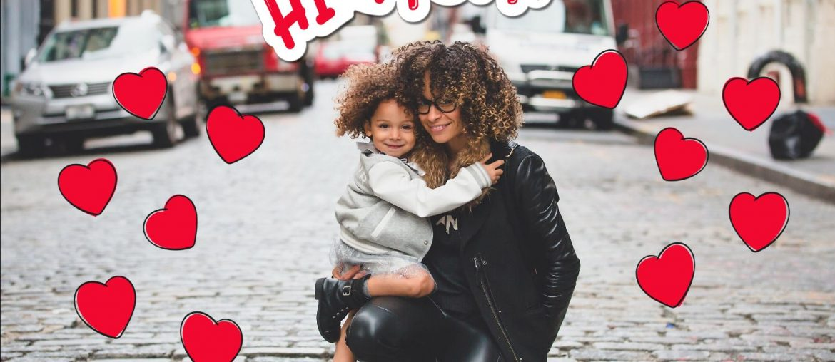 Photo of a mom and daughter on Mother's Day Edit with heart stickers
