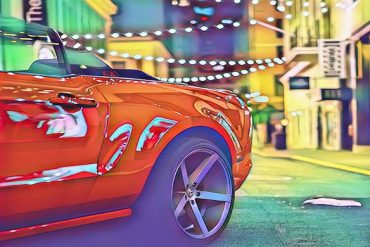 Magic effect on the photo of a red car
