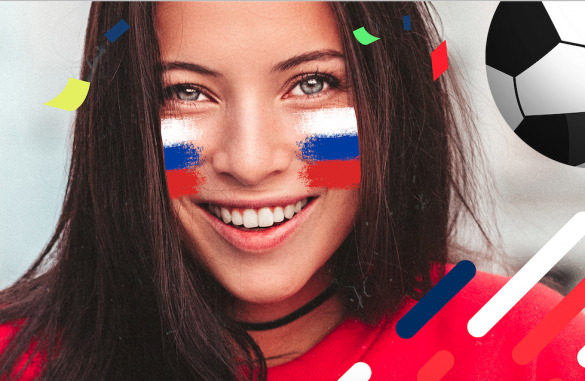 Girl uses Russian flag face on picsart